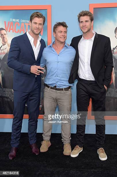 Actors Chris Hemsworth Luke Hemsworth and Liam Hemsworth attend the premiere of Warner Bros Vacation at Regency Village Theatre on July 27 2015 in...