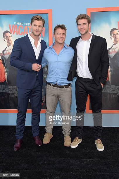 Actors Chris Hemsworth Luke Hemsworth and Liam Hemsworth attend the premiere of Warner Bros 'Vacation' at Regency Village Theatre on July 27 2015 in...