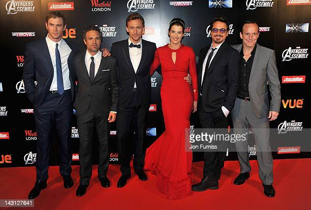 Actors Chris Hemsworth Mark Ruffalo Tom Hiddleston Cobie Smulders Robert Downey Jr and Clark Gregg attend the European Premiere of Marvel Studios'...