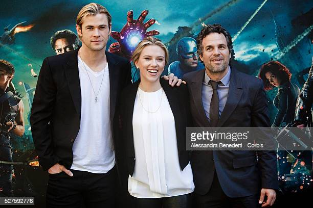 Actors Chris Hemsworth,, Scarlett Johansson and Mark Ruffalo pose during the photocall of the film 'The Avengers' on April 21, 2012 in Rome, Italy.