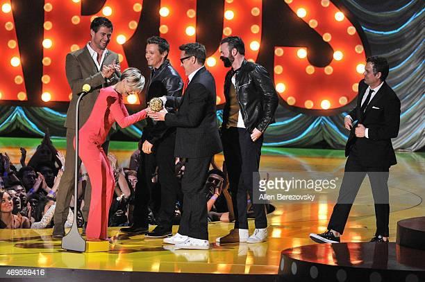 Actors Chris Hemsworth Scarlett Johansson Jeremy Renner Robert Downey Jr Chris Evans and Mark Ruffalo speak onstage during The 2015 MTV Movie Awards...