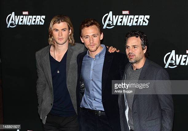 Actors Chris Hemsworth Tom Hiddleston and Mark Ruffalo attend the 'Marvel's The Avengers' Berlin Photocall at the Ritz Carlton Hotel on April 23 2012...