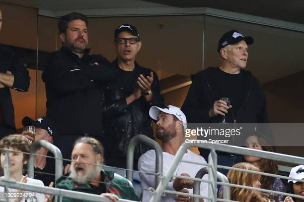 Actors Chris Hemsworth with his wife Elsa Pataky and Jeff Goldblum watch the round three NRL match between the South Sydney Rabbitohs and the Sydney...