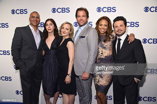 Actors Chris Jackson Annabelle Attanasio Geneva Carr Michael Weatherly Jamie Lee Kirchner and Freddy Rodriguez of 'Bull' attend the 2016 CBS Upfront...