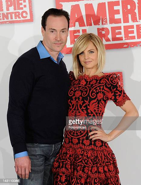Actors Chris Klein and Mena Suvari attend a photocall for 'American Pie: Reunion' at the Villamagna Hotel on April 19, 2012 in Madrid, Spain.