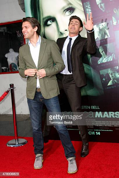 Actors Chris Lowell and Ryan Devlin attend the 'Veronica Mars' Los Angeles premiere held at the TCL Chinese Theatre on March 12 2014 in Hollywood...