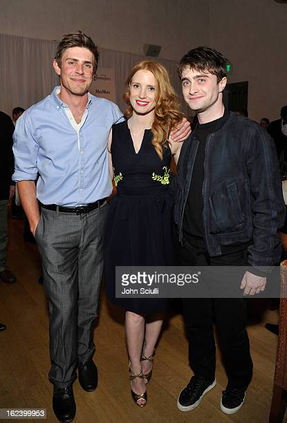 Actors Chris Lowell Jessica Chastain and Daniel Radcliffe attend the Women In Film's 6th Annual PreOscar Party hosted by Perrier Jouet MAC Cosmetics...