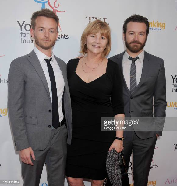 Actors Chris Masterson Danny Masterson and mom Carol Masterson arrive at the Youth For Human Rights International Celebrity Benefit at Beso on March...