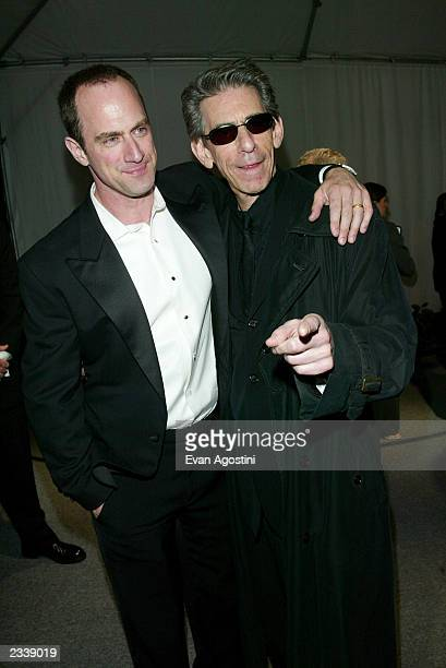 Actors Chris Meloni and Richard Belzer attend the White House Correspondent's Dinner after-party hosted by Bloomberg News at the Trade Ministry of...