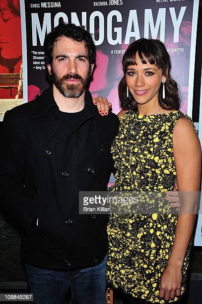 Actors Chris Messina and Rashida Jones attend the Rashida Jones screening of Monogamy with Singer 22 presented by Gotham Magazine at IFC Center on...