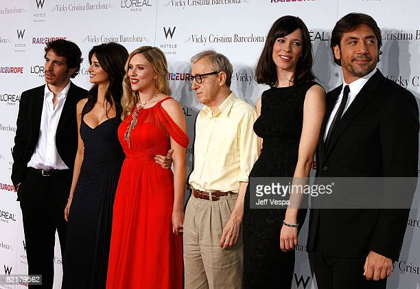 Actors Chris Messina Penelope Cruz Scarlett Johansson director Woody Allen and actors Rebecca Hall and Javier Bardem arrive on the red carpet at the...