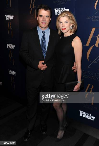 Actors Chris Noth and Christine Baranski attend the Conde Nast Traveler Readers' Choice Awards at The Edison Ballroom on October 10 2011 in New York...