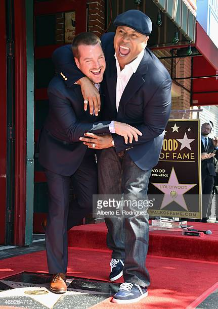 Actors Chris O'Donnell and LL Cool J attend a ceremony honoring Chris O'Donnell with the 2544th Star on Hollywood Walk Of Fame on March 5 2015 in...