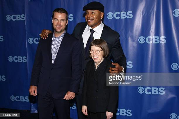 Actors Chris O'Donnell LL Cool J and Linda Hunt attend the 2011 CBS Upfront at The Tent at Lincoln Center on May 18 2011 in New York City
