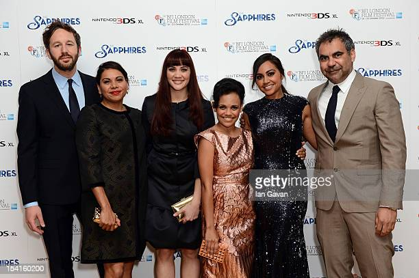 Actors Chris O'Dowd Deborah Mailman Shari Sebbens Miranda Tapsell Jessica Mauboy and director Wayne Blair attend the premiere of 'The Sapphires'...