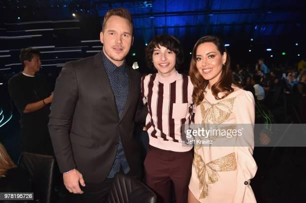Actors Chris Patt Finn Wolfhard and Aubrey Plaza attend the 2018 MTV Movie And TV Awards at Barker Hangar on June 16 2018 in Santa Monica California