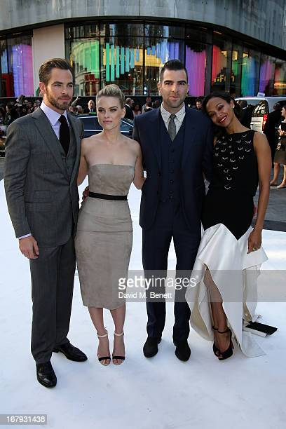 Actors Chris Pine, Alice Eve, Zachary Quinto and Zoe Saldana attend the UK Premiere of 'Star Trek Into Darkness' at The Empire Cinema on May 2, 2013...