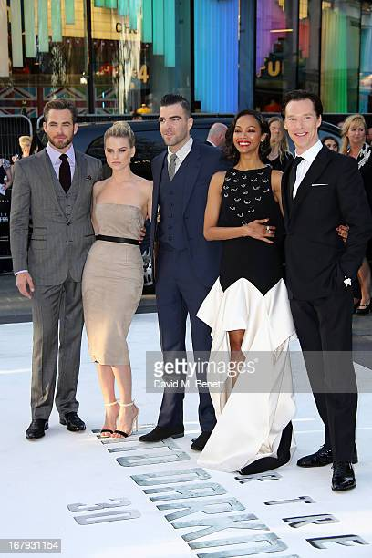 Actors Chris Pine, Alice Eve, Zachary Quinto, Zoe Saldana and Benedict Cumberbatch attend the UK Premiere of 'Star Trek Into Darkness' at The Empire...