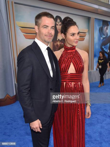 Actors Chris Pine and Gal Gadot attend the premiere of Warner Bros Pictures' Wonder Woman at the Pantages Theatre on May 25 2017 in Hollywood...
