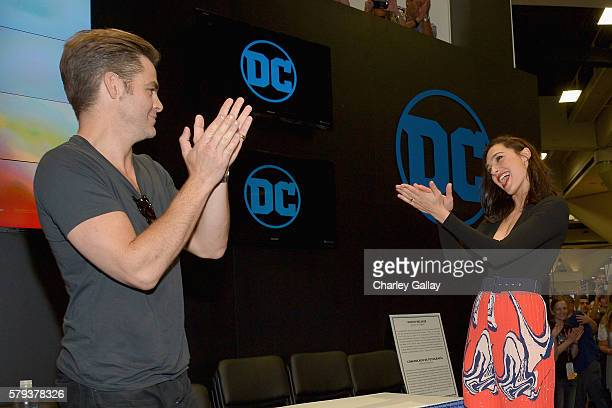 Actors Chris Pine and Gal Gadot from the 2017 feature film Wonder Woman attend an autograph signing session for fans in DC's 2016 San Diego Comic-Con...