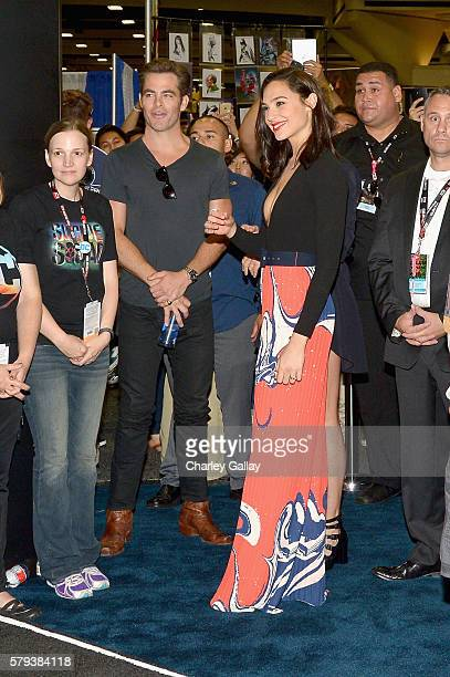 Actors Chris Pine and Gal Gadot from the 2017 feature film Wonder Woman attend an autograph signing session for fans in DC's 2016 San Diego ComicCon...