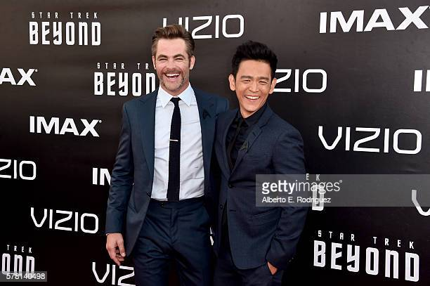 Actors Chris Pine and John Cho attend the premiere of Paramount Pictures' Star Trek Beyond at Embarcadero Marina Park South on July 20 2016 in San...