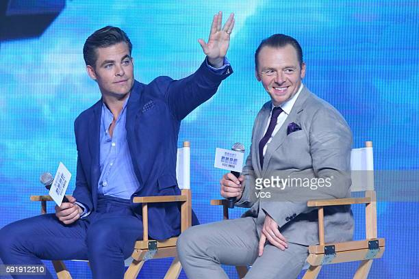 """Actors Chris Pine and Simon Pegg attend """"Star Trek Beyond"""" press conference at Indigo Mall on August 18, 2016 in Beijing, China."""