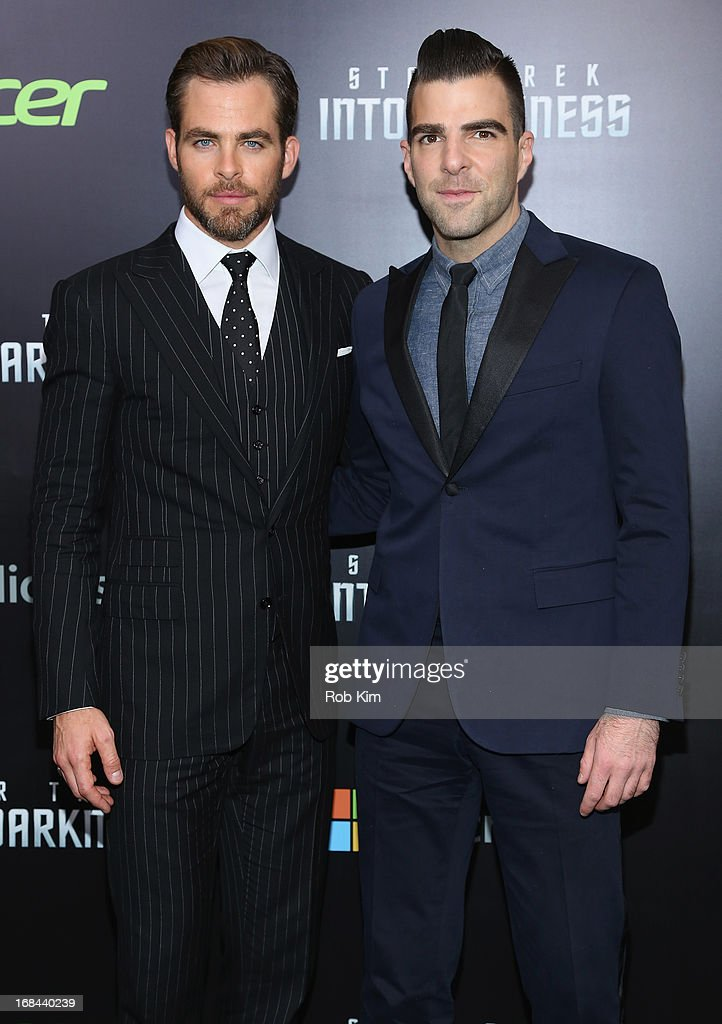 Actors Chris Pine (L) and Zachary Quinto attend the 'Star Trek Into Darkness' screening at AMC Loews Lincoln Square on May 9, 2013 in New York City.