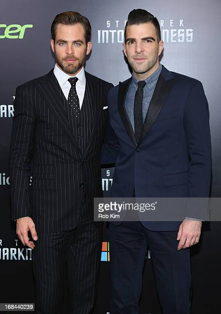 Actors Chris Pine and Zachary Quinto attend the Star Trek Into Darkness screening at AMC Loews Lincoln Square on May 9 2013 in New York City