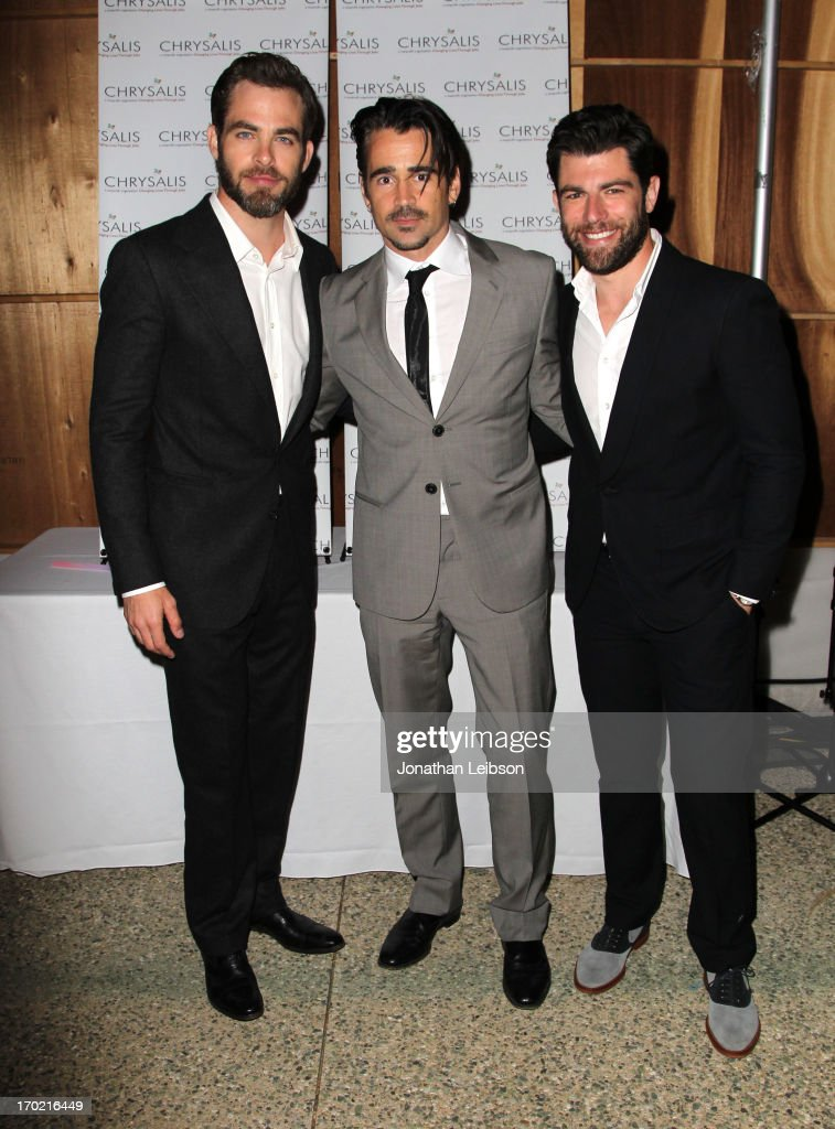 Actors Chris Pine, Colin Farrell, and Host Max Greenfield attend the 12th Annual Chrysalis Butterfly Ball on June 8, 2013 in Los Angeles, California.
