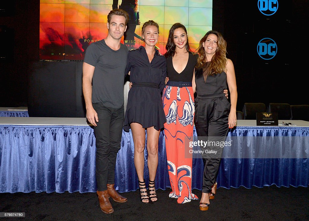 Actors Chris Pine, Connie Nielsen, Gal Gadot and director Patty Jenkins from the 2017 feature film Wonder Woman attend an autograph signing session for fans in DC's 2016 San Diego Comic-Con booth at San Diego Convention Center on July 23, 2016 in San Diego, California.