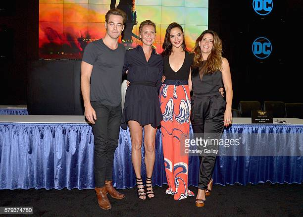 Actors Chris Pine Connie Nielsen Gal Gadot and director Patty Jenkins from the 2017 feature film Wonder Woman attend an autograph signing session for...