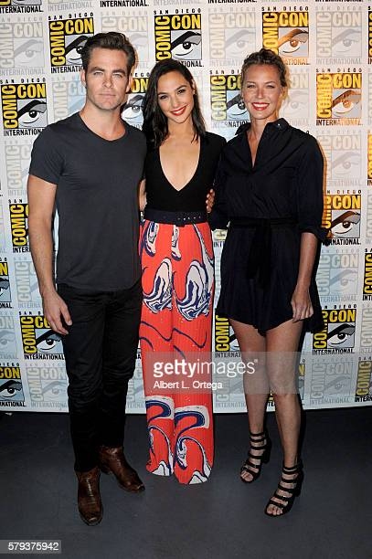 Actors Chris Pine Gal Gadot and Connie Nielsen attend the Warner Bros 'Wonder Woman' Presentation during ComicCon International 2016 at San Diego...