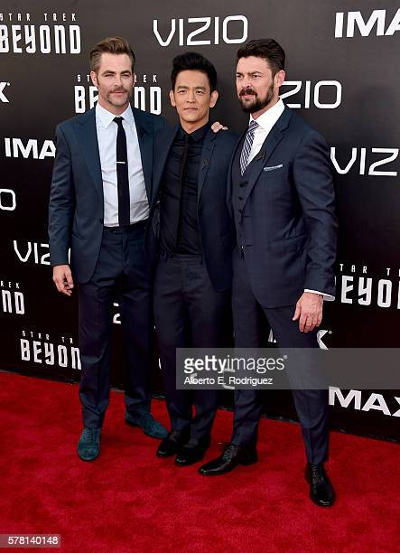 """Actors Chris Pine, John Cho and Karl Urban attend the premiere of Paramount Pictures' """"Star Trek Beyond"""" at Embarcadero Marina Park South on July 20,..."""