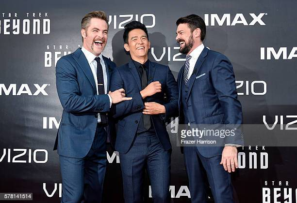 """Actors Chris Pine John Cho and Karl Urban attend the world premiere of the Paramount Pictures title """"Star Trek Beyond"""" at Embarcadero Marina Park..."""