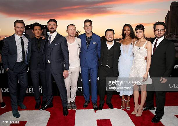 Actors Chris Pine John Cho Karl Urban Simon Pegg and Zachary Quinto director Justin Lin actors Zoe Saldana and Sofia Boutella and producer JJ Abrams...