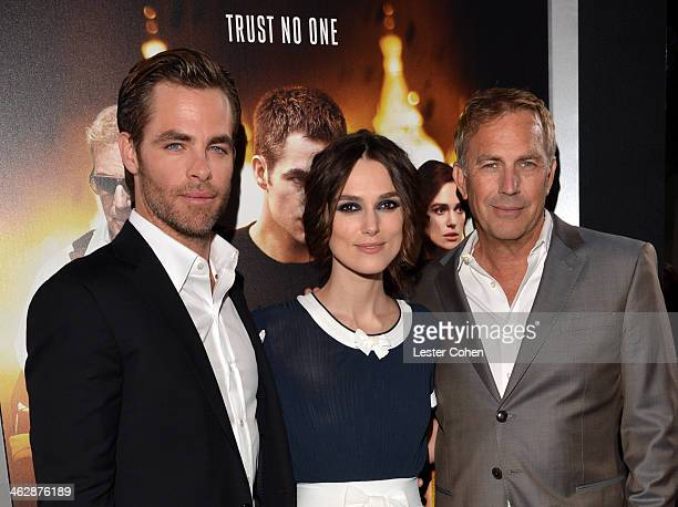 Actors Chris Pine Keira Knightley and Kevin Costner arrive at the premiere of Paramount Pictures' 'Jack Ryan Shadow Recruit' at TCL Chinese Theatre...
