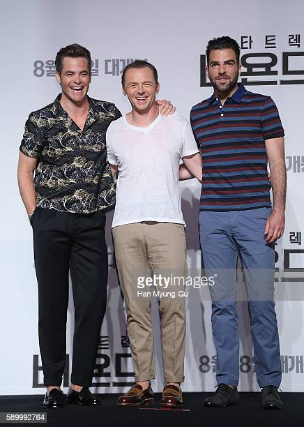 Actors Chris Pine Simon Pegg and Zachary Quinto attend the Press Conference and Photocall in advance of the Fan Screening of the Paramount Pictures...