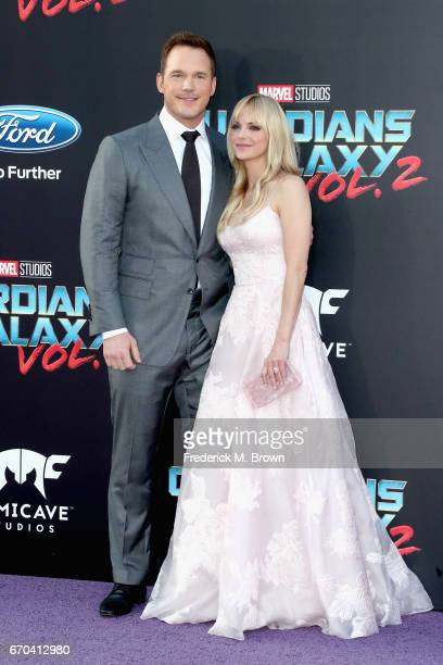 Actors Chris Pratt and Anna Faris at the premiere of Disney and Marvel's 'Guardians Of The Galaxy Vol 2' at Dolby Theatre on April 19 2017 in...
