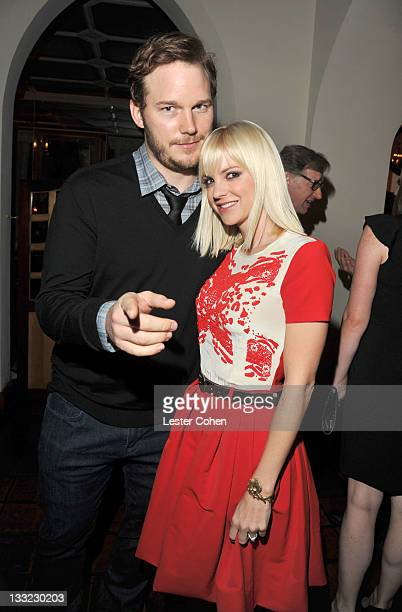 Actors Chris Pratt and Anna Faris attend GQ's 2011 Men of the Year Party held at Chateau Marmont on November 17 2011 in Los Angeles California