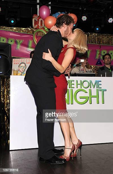 Actors Chris Pratt and Anna Faris attend Relativity Media presents the premiere of 'Take Me Home Tonight' held at Regal Cinemas LA Live Stadium 14 on...