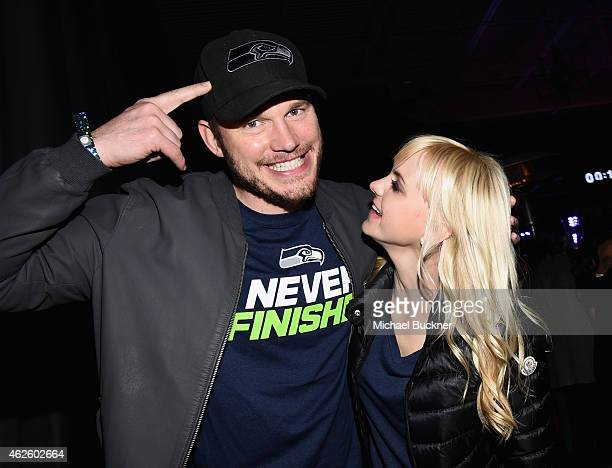 Actors Chris Pratt and Anna Faris attend the Maxim Party with Johnnie Walker Timex Dodge Hugo Boss Dos Equis Buffalo Jeans Tabasco and popchips on...
