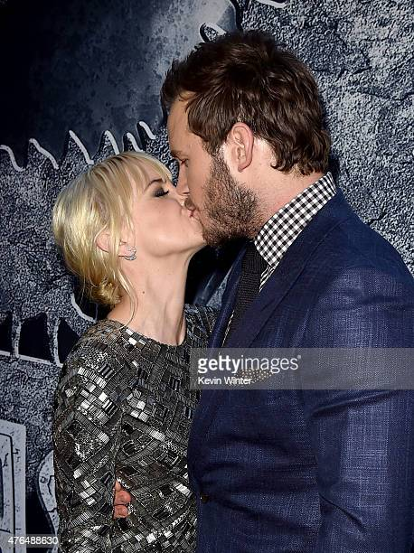Actors Chris Pratt and Anna Faris attend the Universal Pictures' Jurassic World premiere at the Dolby Theatre on June 9 2015 in Hollywood California