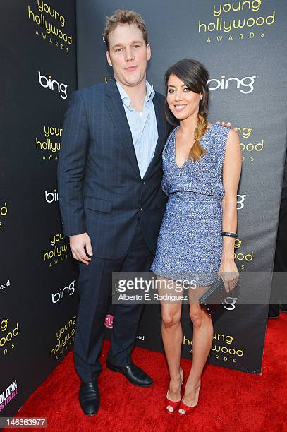 Actors Chris Pratt and Aubrey Plaza arrives at 14th Annual Young Hollywood Awards presented by Bing at Hollywood Athletic Club on June 14 2012 in...