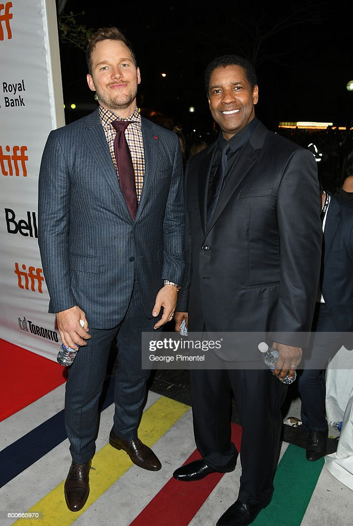 Actors Chris Pratt (L) and Denzel Washington attend 'The Magnificent Seven' premiere during the 2016 Toronto International Film Festival at Roy Thomson Hall on September 8, 2016 in Toronto, Canada.