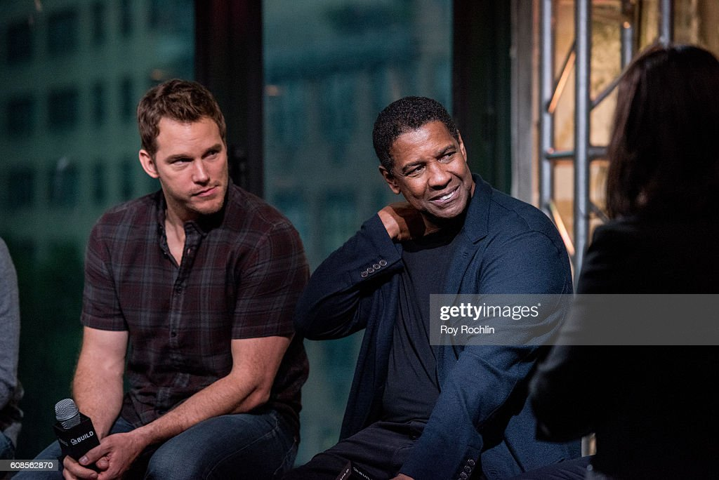 Actors Chris Pratt and Denzel Washington discuss 'The Magnificent Seven' during AOL Build at AOL HQ on September 19, 2016 in New York City.