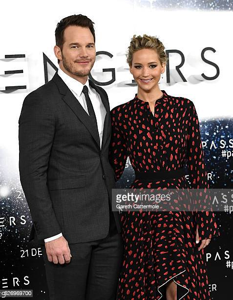 Actors Chris Pratt and Jennifer Lawrence attend a photocall for the film 'Passengers' at Claridge's Hotel on December 1 2016 in London England