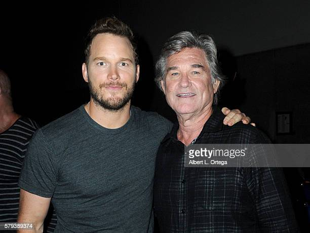 Actors Chris Pratt and Kurt Russell attend the Marvel Studios presentation during Comic-Con International 2016 at San Diego Convention Center on July...