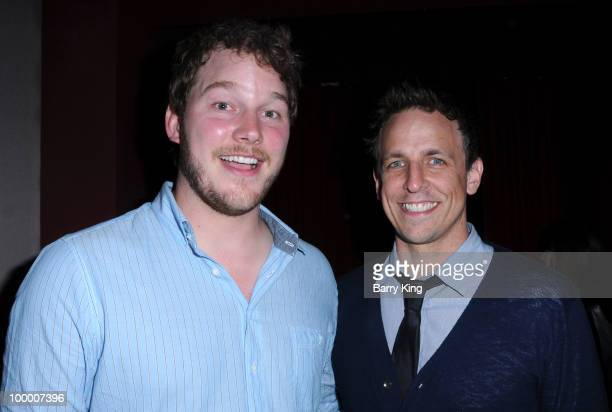Actors Chris Pratt and Seth Meyers attend the reception for NBC's Parks and Recreation Emmy Screening held at the Leonard H Goldenson Theatre on May...