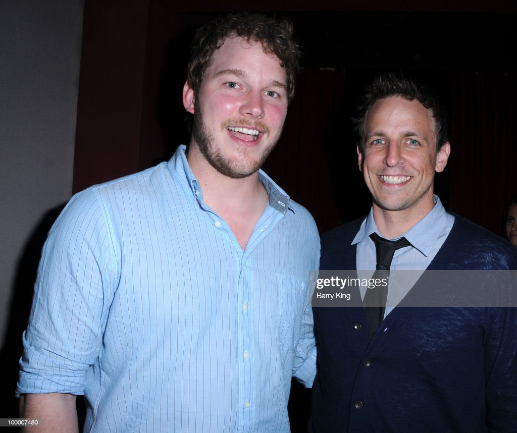 Actors Chris Pratt and Seth Meyers attend the reception for NBC's 'Parks and Recreation' Emmy Screening held at the Leonard H. Goldenson Theatre on May 19, 2010 in North Hollywood, California.